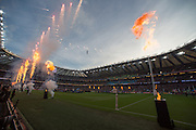 London, Great Britain,   Pre game Pyrotechnics. 2015 Rugby World Cup Final. New Zealand vs Australia,, Twickenham Stadium,London. England,, Saturday  31/10/2015. <br /> [Mandatory Credit; Peter Spurrier/Intersport-images]