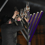 Sudak Rabbi joins the ceremony to light a sacred Menorah to celebrate Chanukah (Hanukkah), the eight-day Jewish Festival in Trafalgar Square, 5th December 2018, London, UK.