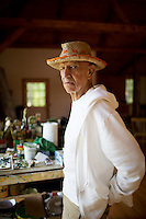 Alex Katz photographed in his studio in Linconville, Maine.  photograph by Allison V. Smith