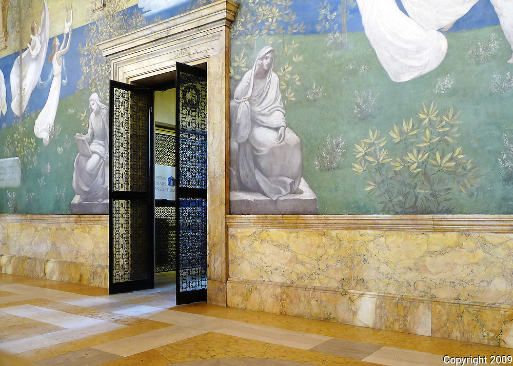 Boston Public Library - The grand staircase and loggia space is presided over by several gorgeous murals by French muralist Pierre Puvis de Chavannes (1824–98). They are the only Puvis murals outside of France.