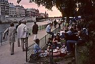 = Urban beach on the Seine river quays  Paris  France  +