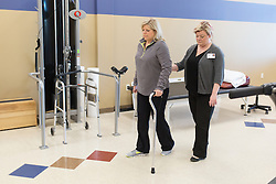 Southern Indiana Rehab Hospital patient Melodie Fridley who is recovering from Gullain-Barre Syndrome works with therapist Jessica Holley, Thursday, Jan. 07, 2016 at  in .