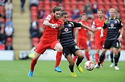 Leyton Orient's Romain Vincelot tussles for the ball with Walsall's Billy Clifford - photo mandatory by-line David Purday JMP- Tel: Mobile 07966 386802 23/08/14 - Leyton Orient v Walsall - SPORT - FOOTBALL - Sky Bet Leauge 1 - London -  Matchroom Stadium