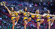 SAN DIEGO, CA - MARCH 18:  West Virginia Mountaineers cheerleaders perform during a second round game of the Men's NCAA Basketball Tournament against the Marshall Thundering Herd at Viejas Arena in San Diego, California. West Virginia won 94-71.  (Photo by Sam Wasson)
