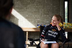 Julie Leth (DEN) laughs with her teammates at Ladies Tour of Norway 2018 Stage 3. A 154 km road race from Svinesund to Halden, Norway on August 19, 2018. Photo by Sean Robinson/velofocus.com
