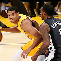 15 November 2016: Brooklyn Nets guard Sean Kilpatrick (6) defends on Los Angeles Lakers guard Jordan Clarkson (6) during the LA Lakers 125-118 victory over the Brooklyn Nets, at the Staples Center, Los Angeles, California, USA.