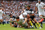 Dave Ewers of England scores their first try during the International Test Match match at Twickenham Stadium, Twickenham<br /> Picture by Andrew Tobin/Focus Images Ltd +44 7710 761829<br /> 01/06/2014