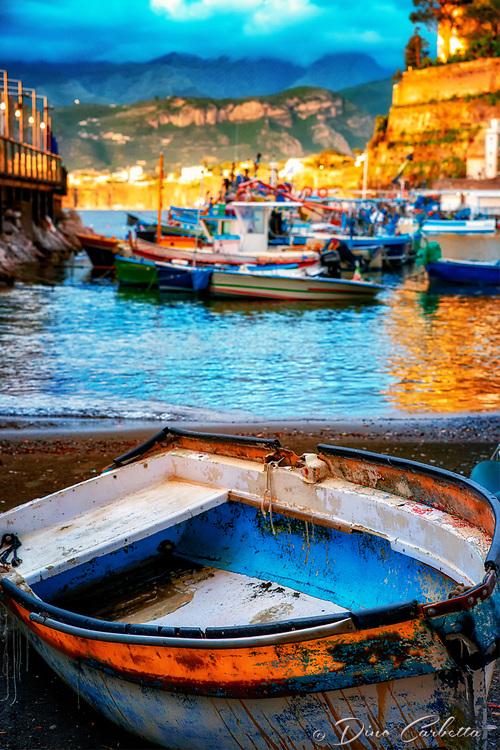 """The primitive fishing boat anticipates the Sorrentino sunset at Marina Grande""..."