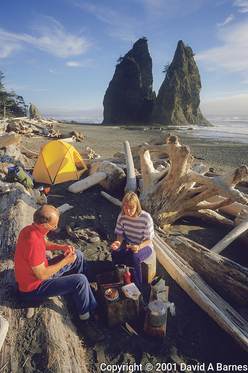 Camping on the beach in Olympic National Park,.Washington State, USA