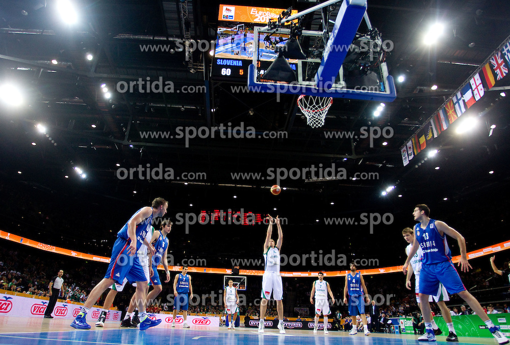 Erazem Lorbek of Slovenia during basketball game between National basketball teams of Slovenia and Serbia in 7th place game of FIBA Europe Eurobasket Lithuania 2011, on September 17, 2011, in Arena Zalgirio, Kaunas, Lithuania. Slovenia defeated Serbia 72 - 68 and placed 7th. (Photo by Vid Ponikvar / Sportida)