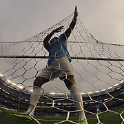 Joleon Lescott, Manchester City, recovers the ball from the net after a Chelsea goal during the Manchester City V Chelsea friendly exhibition match at Yankee Stadium, The Bronx, New York. Manchester City won the match 5-3. New York. USA. 25th May 2012. Photo Tim Clayton