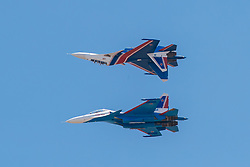 March 27, 2019 - Langkawi, Malaysia - Russian Knights Su-30SM fighter jets perform during the 15th Langkawi International Maritime and Aerospace Exhibition (LIMA) in Langkawi, Malaysia. The 15th Langkawi International Maritime and Aerospace Exhibition (LIMA) kicked off on Tuesday, with defense companies from around the globe vying for a bigger share in the Asian defense industry. 390 companies from the defense and commercial industry from 31 countries and regions are participating in the five-day event. (Credit Image: © Xinhua via ZUMA Wire)