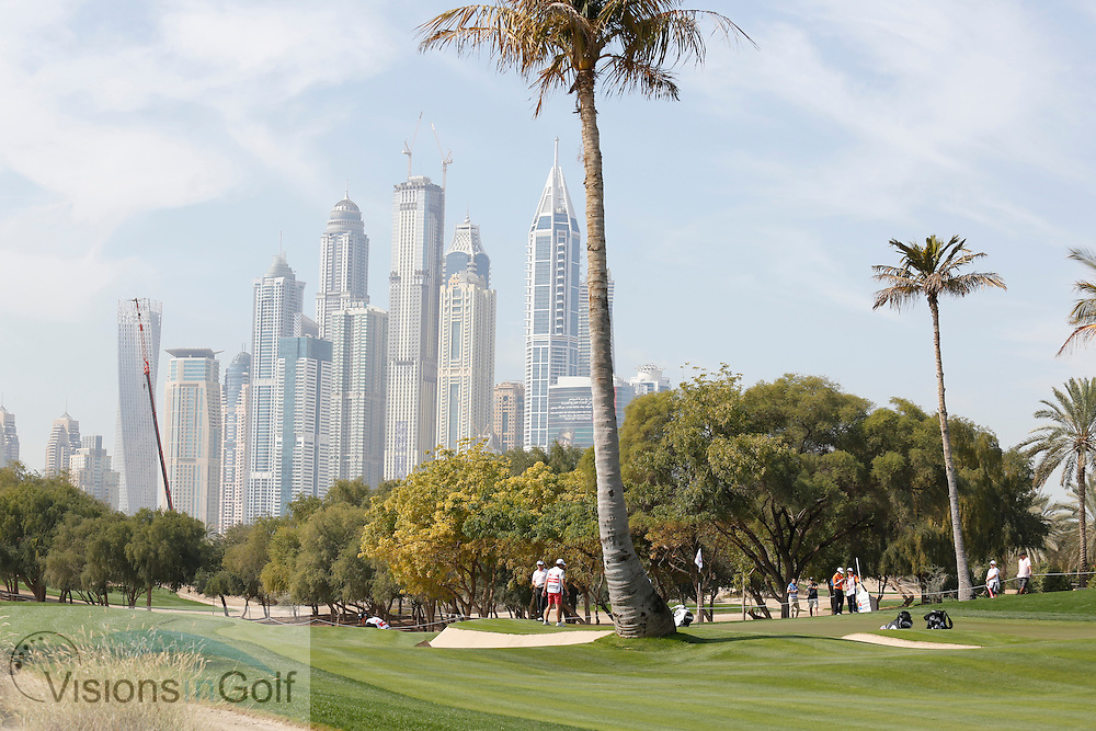 general view scenic showing the skyscrapers <br /> Omega Dubai Desert Classic, Emirates GC, UAE, January 2014<br /> Picture Credit:  Mark Newcombe / www.visionsingolf.com