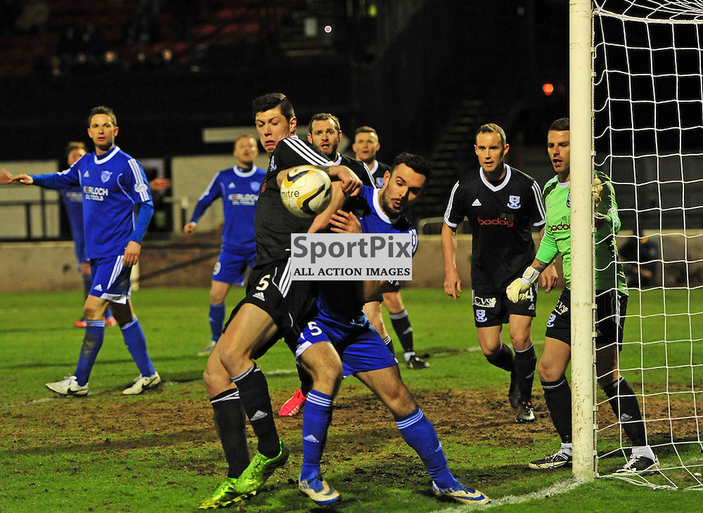 Panic in the Ayr defence at Peterhead do all they can to scramble an equaliser....(c) BILLY WHITE | SportPix.org.uk