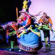 Dancers in a performance of traditional Bolivian dances, in Sucre, Bolivia.