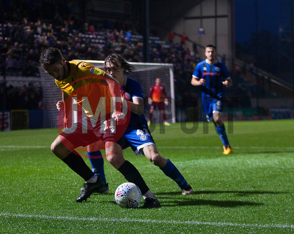 Luke Leahy of Bristol Rovers (L) and Luke Matheson of Rochdale in action - Mandatory by-line: Jack Phillips/JMP - 02/11/2019 - FOOTBALL - Crown Oil Arena - Rochdale, England - Rochdale v Bristol Rovers - English Football League One