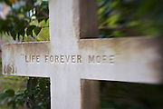 A burial marker with 'Life Forever More' at the historic cemetery at Saint John's Lutheran Church in Charleston, SC. Charleston founded in 1670 is considered America's most beautifully preserved architectural and historic city.