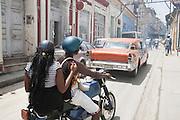 Traffic in a street in Santiago de Cuba, Cuba
