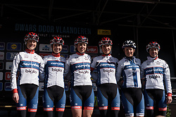 Cervélo Bigla are presented to the crowds ahead of Dwars door Vlaanderen 2017. A 114 km road race on March 22nd 2017, from Tielt to Waregem, Belgium. (Photo by Sean Robinson/Velofocus)