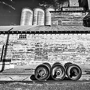 Black & White photo of the railyard in Rosalia, Washington