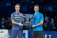 Tennis - 2017 Nitto ATP Finals at The O2 - Day Eight<br /> <br /> Mens Doubles: Final : Henri Kontinen (Finland) & John Peers (Australia) Vs Lukasz Kubot (Poland) & Marcelo Melo (Brazil) <br /> <br /> Henri Kontinen (Finland) and John Peers (Australia) with the ATP World doubles trophy at the O2 Arena<br /> <br /> COLORSPORT/DANIEL BEARHAM