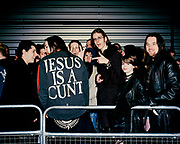 Marilyn Manson fan wearing 'Jesus is a cunt' jacket, London, 2001.