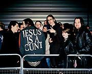 Marilyn Manson fan wearing 'Jesus is a cunt' jacket, London, 2001.