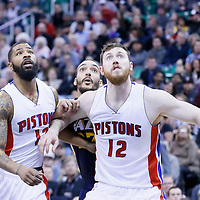 25 January 2016: Utah Jazz center Rudy Gobert (27) vies for the rebound with Detroit Pistons forward Marcus Morris (13) and Detroit Pistons center Aron Baynes (12) during the Detroit Pistons 95-92 victory over the Utah Jazz, at the Vivint Smart Home Arena, Salt Lake City, Utah, USA.