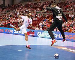 09.04.2016, Ergo Arena, Gdansk, POL, IHF Herren, Olympia Qualifikation, Mazedonien vs Tunesien, im Bild Oussama Hosni, Nikola Mitrevski // during the IHF men's Olympic Games handball qualifier between Macedonia and Tunisia at the Ergo Arena in Gdansk, Poland on 2016/04/09. EXPA Pictures © 2016, PhotoCredit: EXPA/ Newspix/ Tomasz Zasinski<br /> <br /> *****ATTENTION - for AUT, SLO, CRO, SRB, BIH, MAZ, TUR, SUI, SWE only*****