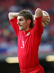 CARDIFF, WALES - SATURDAY MARCH 26th 2005: Wales' Sam Ricketts takes a throw-in against Austria during the Wold Cup Qualifying match at the Millennium Stadium. (Pic by David Rawcliffe/Propaganda)