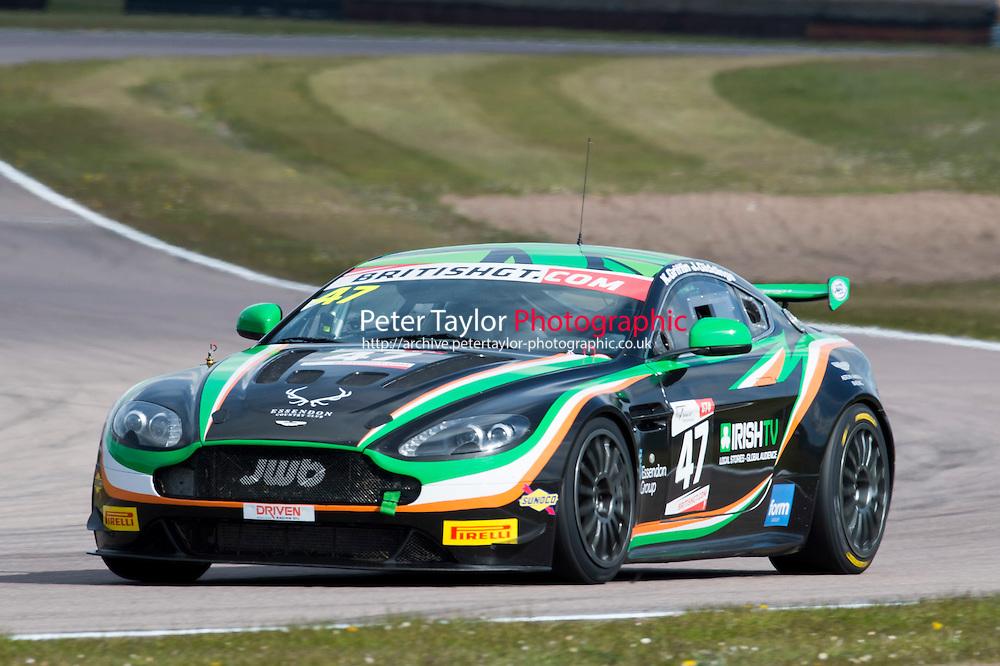 Jake Giddings (GBR) / Kieran Griffin (GBR)  #47 JW Bird Motorsport  Aston Martin V8 Vantage GT4  Aston Martin 4.7L V8,  British GT Championship at Rockingham, Corby, Northamptonshire, United Kingdom. April 30 2016. World Copyright Peter Taylor/PSP.
