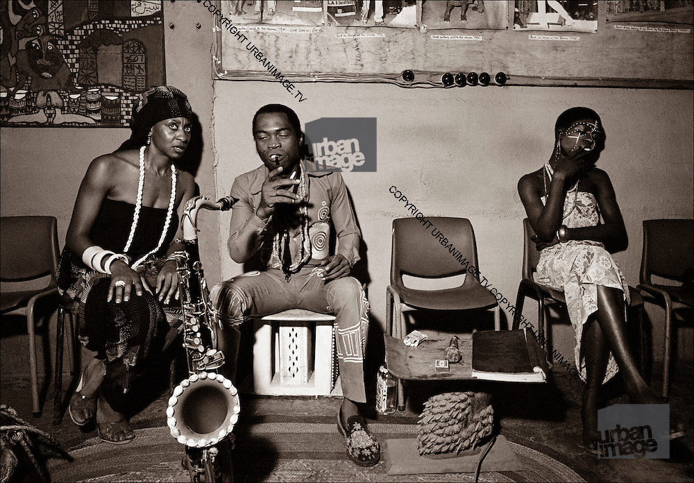 Fela Kuti backstage at the Shrine - Lagos