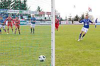 1. divisjon fotball 2014: Hødd - Tromsdalen. Hødds Fredrik Aursnes setter inn 1-0 på straffespark i 1. divisjonskampen mellom Hødd og Tromsdalen på Høddvoll.