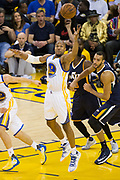Golden State Warriors forward David West (3) chases down a rebound against the Utah Jazz during Game 2 of the Western Conference Semifinals at Oracle Arena in Oakland, Calif., on May 4, 2017. (Stan Olszewski/Special to S.F. Examiner)