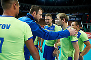 Katowice, Poland - 2017 September 03: Evgenii Afanasev trainer coach of SO Russia speaks with his players while final match between SO Russia and SO Finland during European Unified Volleyball Tournament 2017 at Spodek Hall on September 03, 2017 in Katowice, Poland.<br /> <br /> Adam Nurkiewicz declares that he has no rights to the image of people at the photographs of his authorship.<br /> <br /> Picture also available in RAW (NEF) or TIFF format on special request.<br /> <br /> Any editorial, commercial or promotional use requires written permission from the author of image.<br /> <br /> Image can be used in the press when the method of use and the signature does not hurt people on the picture.<br /> <br /> Mandatory credit:<br /> Photo by &copy; Adam Nurkiewicz / Mediasport