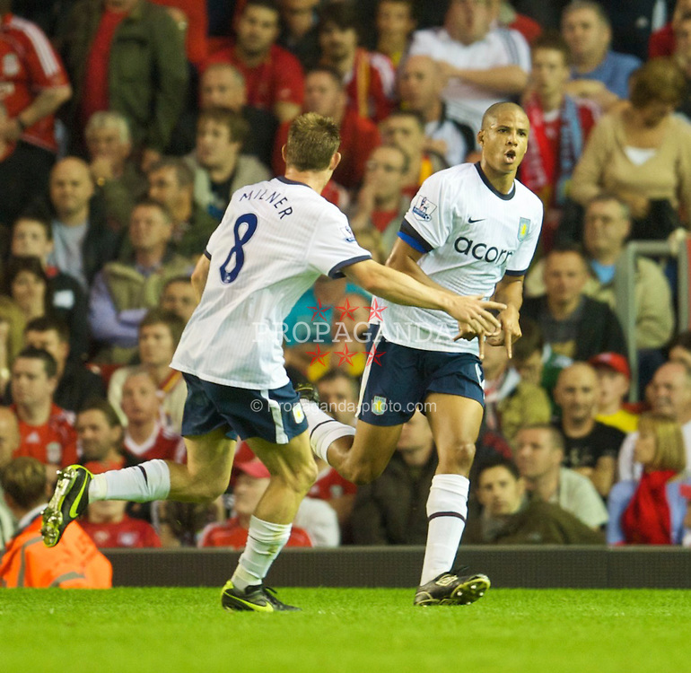 LIVERPOOL, ENGLAND - Monday, August 24, 2009: Aston Villa's Curtis Davies celebrates scoring his side's second goal against Liverpool during the Premiership match at Anfield. (Photo by David Rawcliffe/Propaganda)