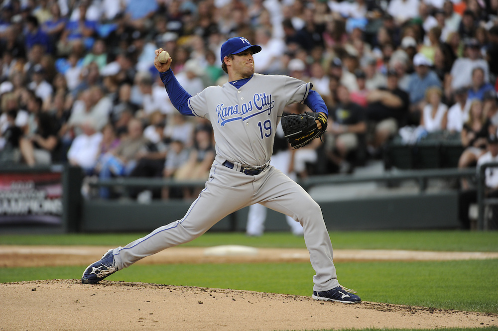 CHICAGO - JULY 10:  Brian Bannister #19 of the Kansas City Royals pitches against the Chicago White Sox on July 10, 2010 at U.S. Cellular Field in Chicago, Illinois.  The White Sox defeated the Royals 5-1.  (Photo by Ron Vesely)