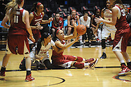 "Arkansas' Jhasmin Bowen (42) passes while defended by Mississippi's Bretta Hart (24) at the C.M. ""Tad"" Smith Coliseum in Oxford, Miss. on Friday, January 2, 2015. (AP Photo/Oxford Eagle, Bruce Newman)"