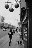 Pawnbrokers 3 balls sign on shop in Pinstone Street Sheffield 1992,
