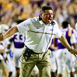Oct 15, 2016; Baton Rouge, LA, USA;  LSU Tigers head coach Ed Orgeron during the first quarter of a game against the Southern Miss Golden Eagles at Tiger Stadium. Mandatory Credit: Derick E. Hingle-USA TODAY Sports