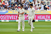 Sam Curran of England talking to Dawid Malan of England as they walk off for lunch during second day of the Specsavers International Test Match 2018 match between England and India at Edgbaston, Birmingham, United Kingdom on 2 August 2018. Picture by Graham Hunt.