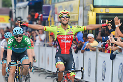 March 23, 2018 - Tanjung Malim, Malaysia - LUCA PACIONI (Right) from Wilier Triestina-Selle Italia Team celebrates as he wins the sixth stage, the 108.5km from Tapah to Tanjung Malim, of the 2018 Le Tour de Langkawi in Tanjung Malim, Malaysia. (Credit Image: © Artur Widak/NurPhoto via ZUMA Press)