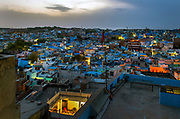 The blue houses of the district of Navchokya beyond the ramparts of Mehrangarh Fort