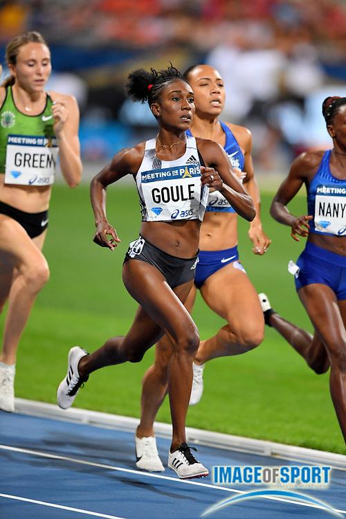 Natoya Goule (JAM) places second in the women's 800m in 1:58.59 during the Meeting de Paris, Saturday, Aug. 24, 2019, in Paris. (Jiro Mochizuki/Image of Sport via AP)