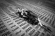 Flowers on the Srebrenica Memorial wall.