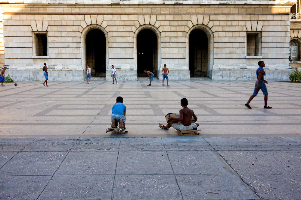 Children playing on the west side of the Capitolio, Havana Vieja, Cuba.