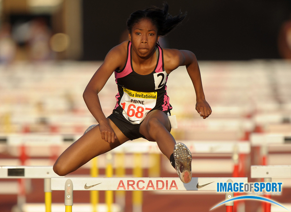 Apr 6, 2012; Arcadia, CA, USA; Kymber Payne runs the anchor leg on the Long Beach Poly girls 4 x 100m shuttle hurdle relay that won in 58.11 in the Arcadia Invitational at Arcadia High.
