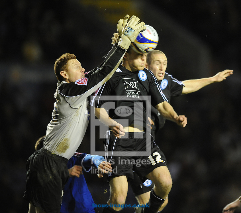 Leicester - Saturday December 22th, 2008: Craig Mackail-Smith of Peterborough United puts pressure on Leicester City goalkeeper, David Martin, as Peterborough try to find a way back into the game, during the Coca Cola League One match at The Walkers Stadium, Leciester. (Pic by Alex Broadway/Focus Images)