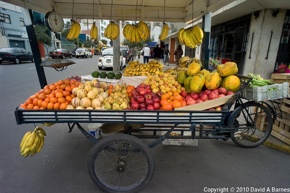 Fruit vendors cart, Lima, Peru