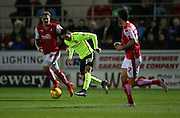 Brighton striker, Anthony Knockaert (27) goes past Rotherham United midfielder Danny Ward (9) during the Sky Bet Championship match between Rotherham United and Brighton and Hove Albion at the New York Stadium, Rotherham, England on 12 January 2016.